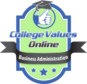 The badge awarded by college values online to the best Business Administration programs