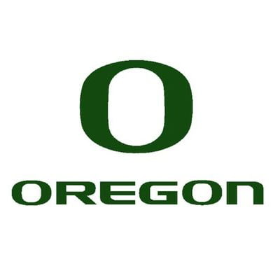 The logo for University of Oregon which is a great university for basketball