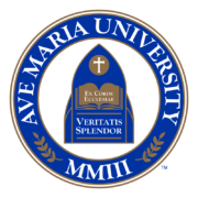 The logo for Ave Maria University one of the top best small colleges for business