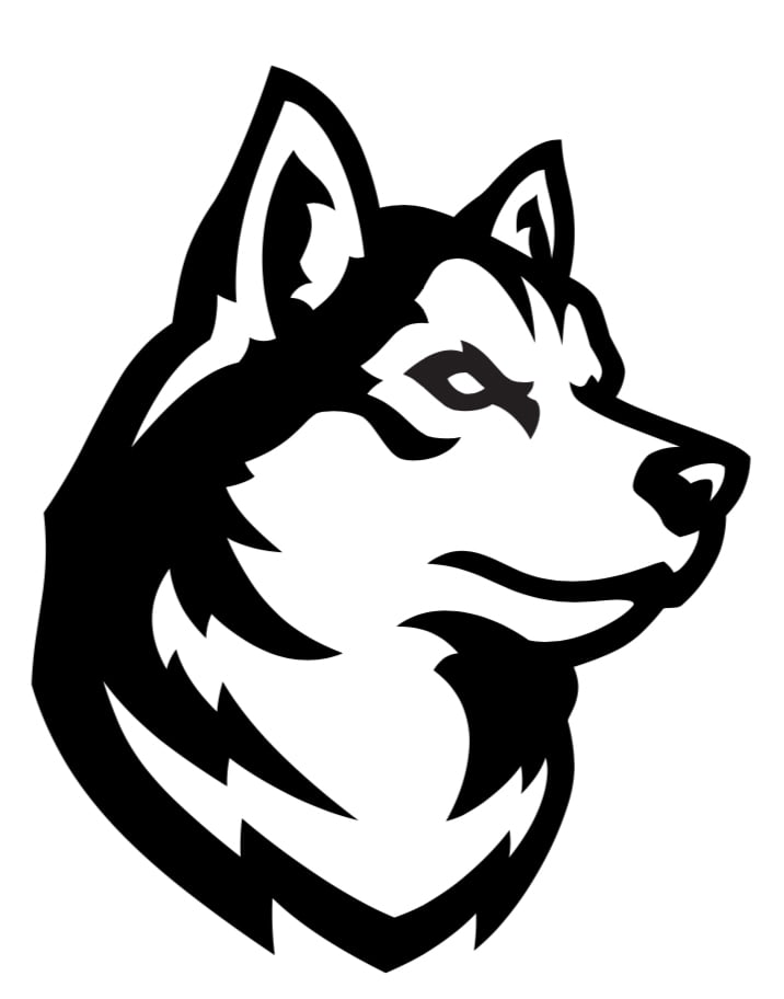 The logo for Northeastern University which has great men and woman's rowing team