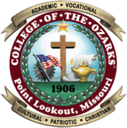 The logo for College of the Ozarks which ranked which ranked 10th for best small business schools