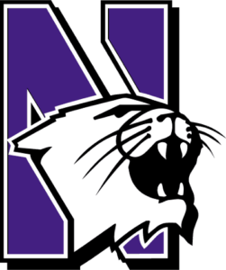The logo for NU which is one of the best colleges for women's basketball