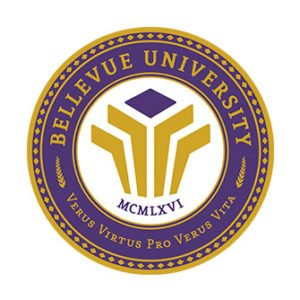 The logo for bellevue-university that has one of the best accelerated mpa programs