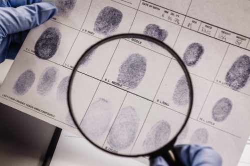 Image of fingerprints for our article about criminology programs