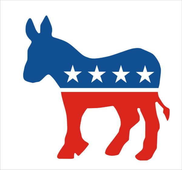 Logo of the Democratic Party - Red, White, and Blue donkey