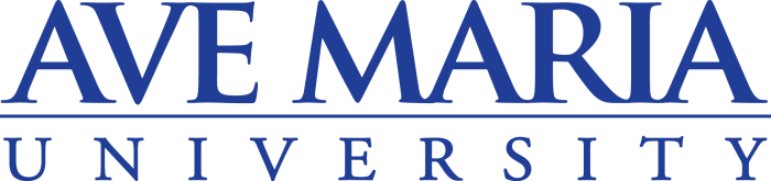 Logo for Ave Maria University a small catholic colleges entry