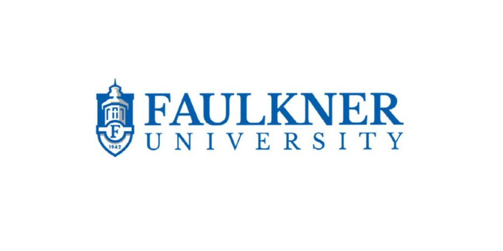 The logo for Faulkner University which is one of the great online executive mba programs