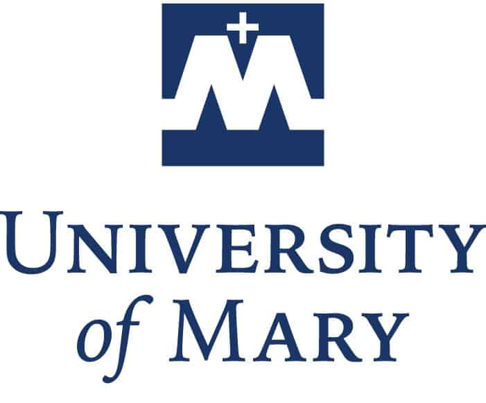 The logo for University of Mary which has an online masters project management