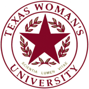 The logo for Texas Woman's University which offers one of the best online degrees for stay-at-home moms