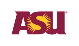 The logo for Arizona State University which has a top historical campus