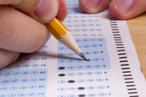 Close-up of pencil point filling in circles on a standardized test