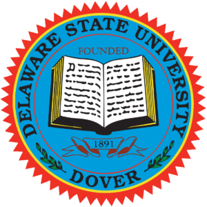 The logo for Delaware State University which offers one of the best degrees for stay-at-home moms