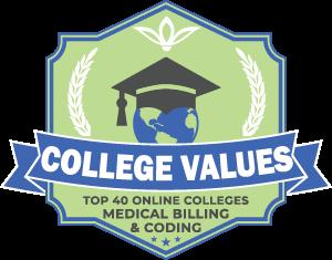 Top 40 Online Colleges - Medical Billing & Coding Badge