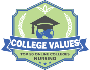 Top 50 Online Colleges Nursing Badge