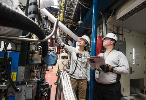 Technicians test Thermochemical User Facility Pilot Plant